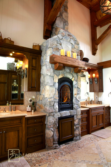 Marble Tile Fireplace Ranch Mountain Master Bath - Farmhouse - Bathroom - Santa