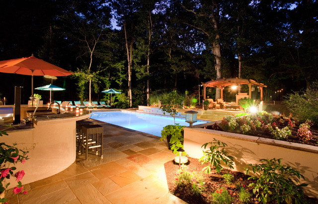 Backyard Pool Entertainment Area