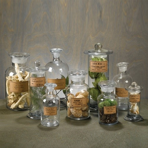 Set of 9 apothecary jars eclectic bathroom canisters