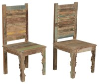 Farmhouse Rustic Old Reclaimed Wood Dining Chair (Set of 2 ...