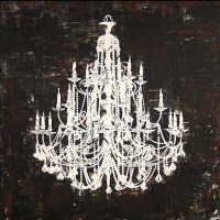 'Chandelier White and Black II' Canvas Art - Contemporary ...