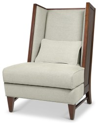 Dylan Mid Century Modern Wood Back Wing Back Accent Chair ...