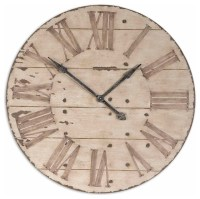 Uttermost Harrington 36-inch Wooden Wall Clock - Farmhouse ...