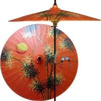 Bamboo Forest Outdoor Patio Umbrella, Passion Fruit Orange ...