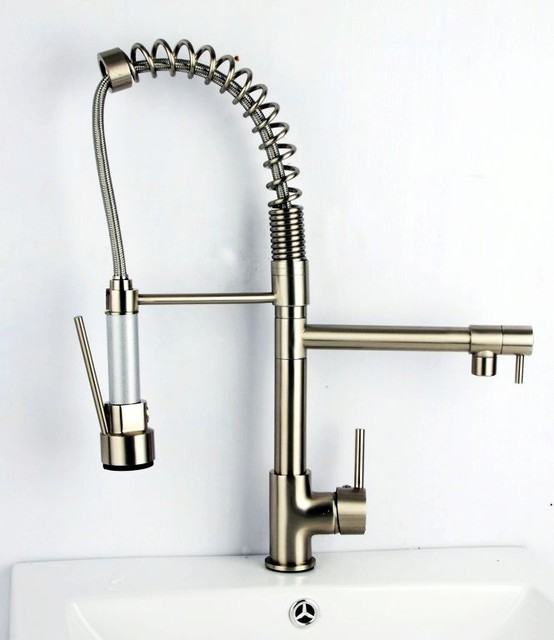 brushed nickel pull kitchen faucet contemporary kitchen contemporary solid brass kitchen faucet chrome finish faucetsmall