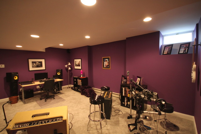 Music studio contemporary basement other metro by