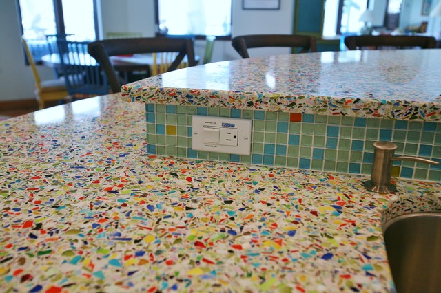 Durable Kitchen Table Top Vetrazzo Millefiori Recycled Glass Islands - Contemporary