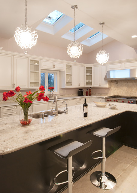 Modern Kitchen Island Lights White Glamorous Modern Kitchen - Modern - Kitchen