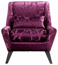 Purple Floral Velvet Modern Accent Chair - Transitional ...