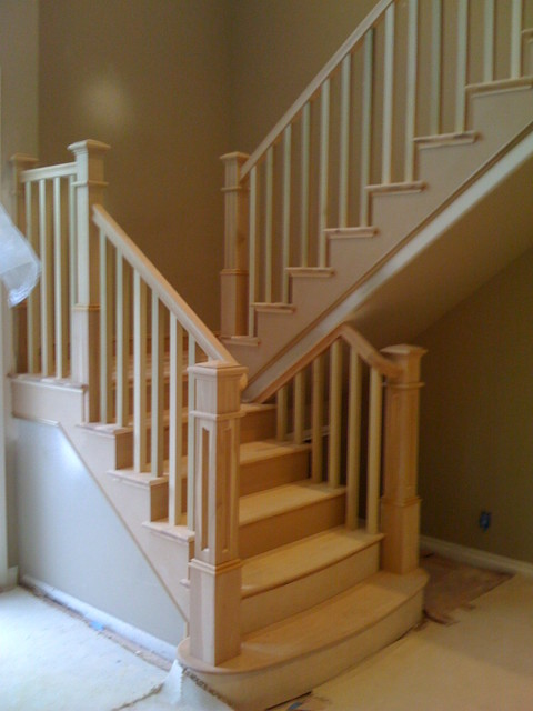 Outdoor Lighting Houzz Craftsman Hickory Staircase - Craftsman - Staircase - San