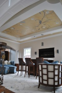 Manhatten style Living Room with tray ceiling ...