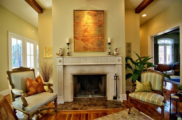 French Country Living Room Fireplace