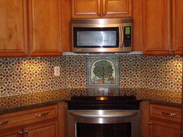 hand painted tile backsplash mediterranean kitchen seattle donna kitchen backsplash design hand painted tiles