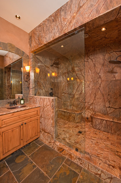 Steam shower rustic bathroom other metro by custom design