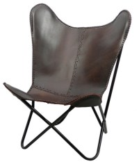 Brown Leather Butterfly Chair - Midcentury - Living Room ...