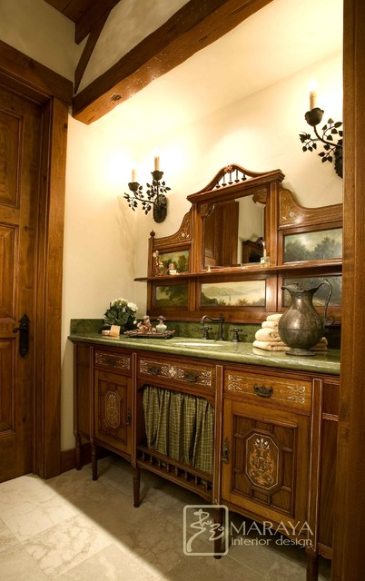 Houzz Rugs Mountain Ranch With Antique Vanity - Farmhouse - Powder