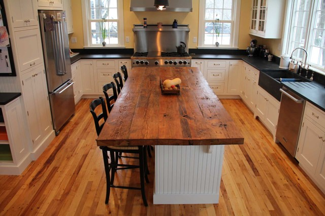 Wood Island Tops Kitchens Reclaimed White Pine Kitchen Island Counter - Transitional