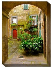 Italian Courtyard Outdoor Canvas Art - Traditional ...