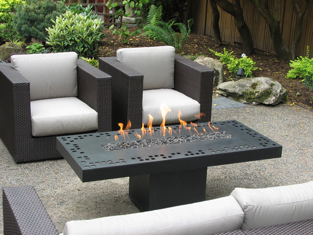 Lounge Tisch Mit Feuerstelle Rectangular Geometry - Contemporary - Fire Pits - Portland