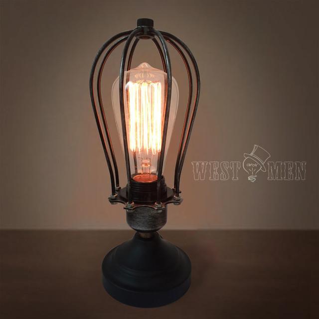 Edison Cage Table Lamps midcentury desktop lights squirrel