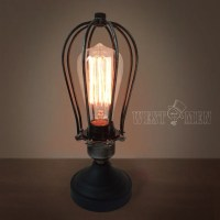 Edison Cage Table Lamps midcentury desktop lights squirrel ...
