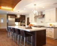 Kitchen: dark cabinets, white island?