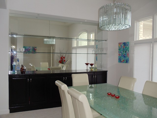Decorative Mirror Rectangle Dining Room With Mirrored Niche To Create A Home Bar