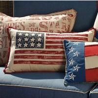 Hand-painted American Flag Lumbar Pillow - Modern ...