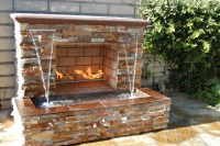Fireplace with Waterfall - Contemporary - Patio - orange ...