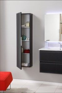 Macral Cuero wall-mounted linen cabinet. black caw leather ...