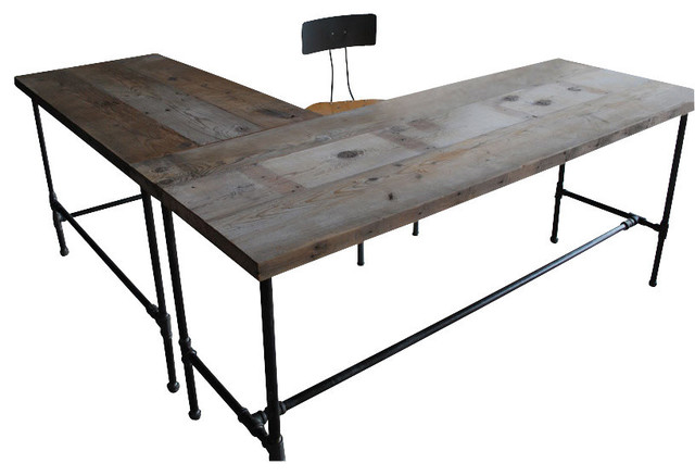 Modern Industry L Shape Reclaimed Wood Desk, Natural