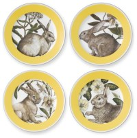 Yellow-Banded Easter Salad Plates - Contemporary - Plates ...