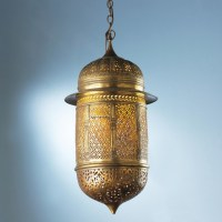 Vintage Moroccan Pierced Golden Brass Lantern - Lamp ...