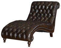 Princess Tufted Leather Chaise traditional-indoor-chaise ...