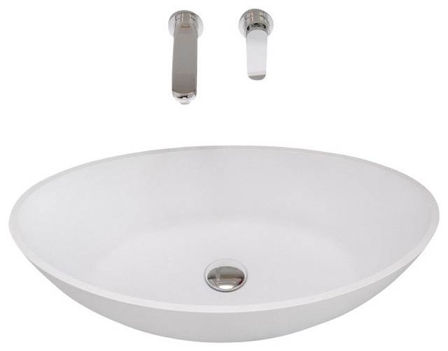 Adm White Countertop Solid Surface Stone Resin Sink Matte