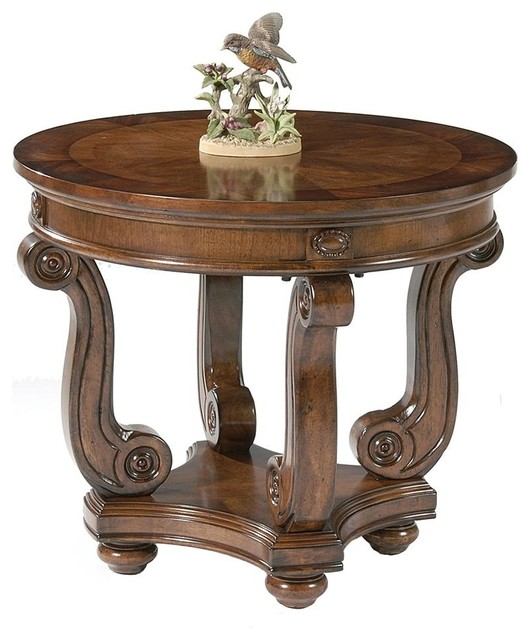 Victorian End Table Victorian Manor Round End Table - Contemporary - Side
