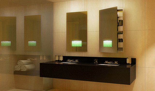Seamless lighted recessed medicine cabinet by electric