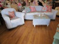 shabby chic sofa chair ottoman chenille bedspread rose ...