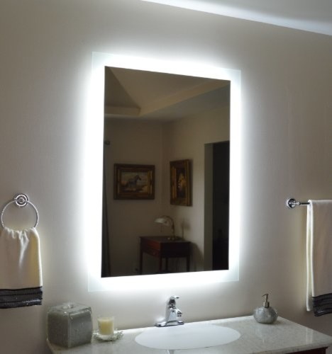 Wall Mounted Lighted Vanity Mirror Modern Bathroom