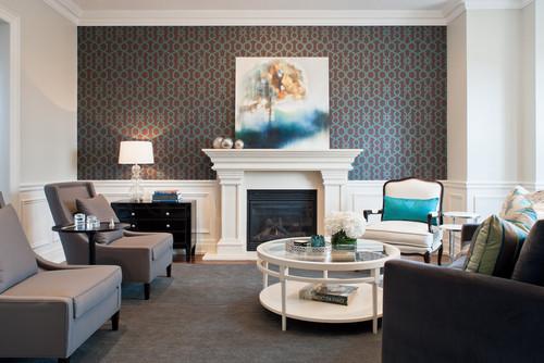 trellis wallpaper, wallpaper accent wall, wallpapered fire place accent wall