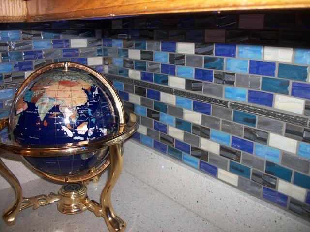 recycled grey blue white backsplash eclectic kitchen recycled glass backsplash