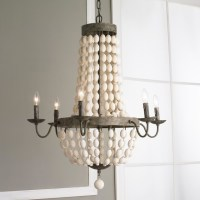 White Wood Beads and Iron Basket Chandelier - Rustic ...