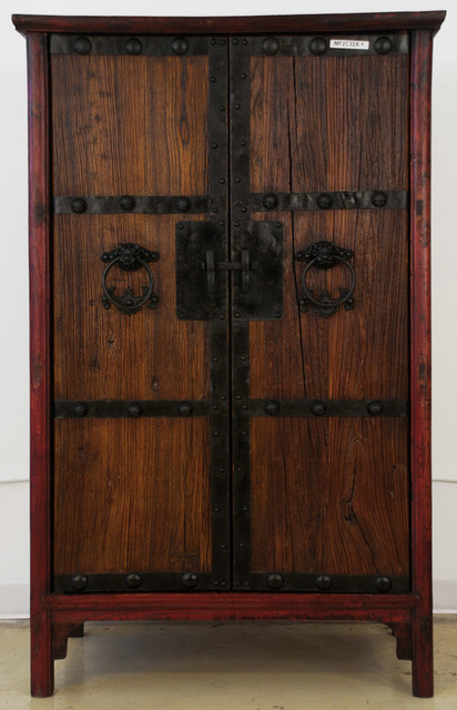 Antique Chinese Cabinet With New Doors Made From Old Wood