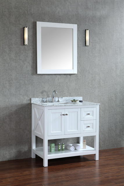 "Beach Style Bathroom Vanity New 36"" Emily Bathroom Vanity Light Grey Or White - Beach"
