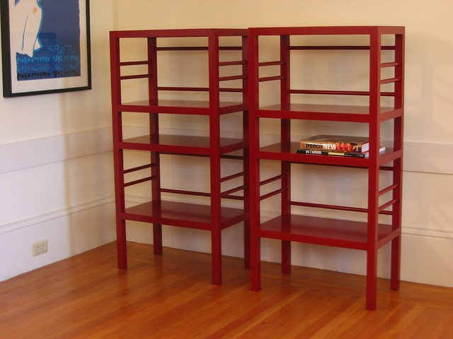 Bookcases Red Lacquer Modern Bookcases San