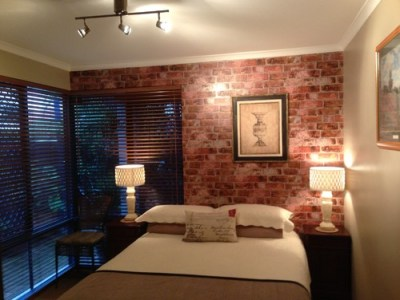 Faux Brick Wallpaper In Bedroom and Living Room