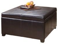 Berkeley Espresso Leather Storage Ottoman Coffee Table ...