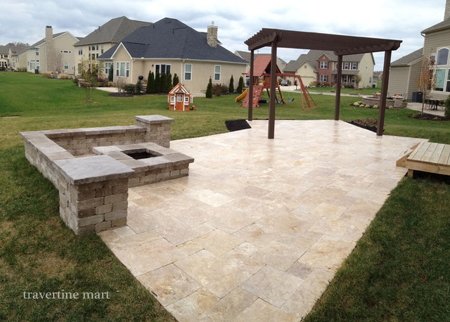 Patio Pavers By The Pallet Walnut Travertine Pavers - Traditional - Patio - providence - by Travertine Mart