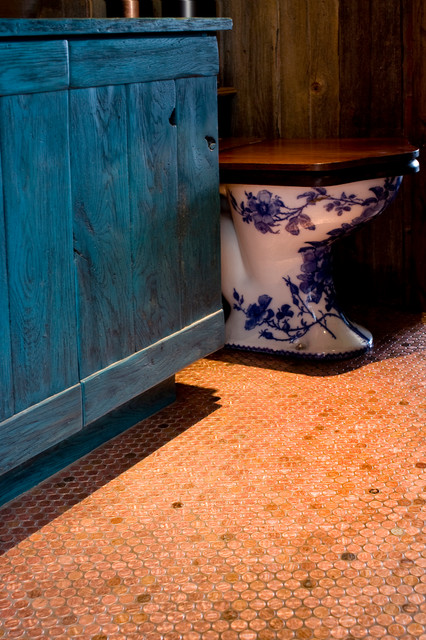 Houzz Bathroom Ideas Copper Penny Floor Tile - Eclectic - Bathroom - Phoenix