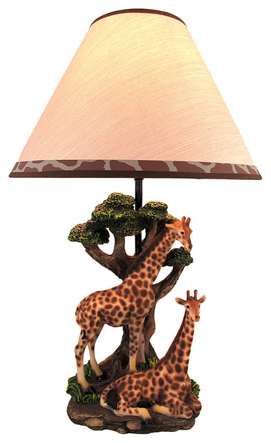Giraffe Couple Table Lamp w/ Spotted Shade Nature